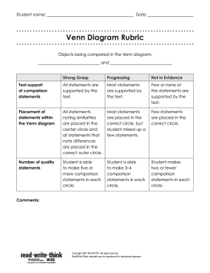 Rubric For Venn Diagram - Fill Online, Printable, Fillable, Blank ...