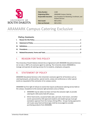 Fillable Online usd ARAMARK Campus Catering Exclusive - The