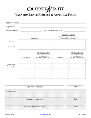 Vacation Form Approval - Fill Online, Printable, Fillable, Blank ...