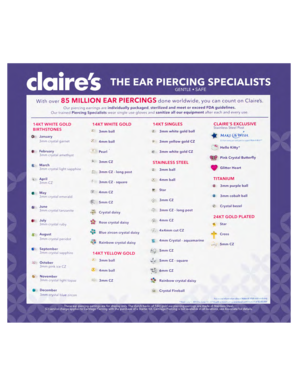 Fillable Online THE EAR PIERCING SPECIALISTS - Claire's Fax