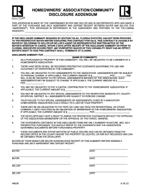 Fillable Online HOMEOWNERS ASSOCIATION DISCLOSURE FORM Fax Email ...