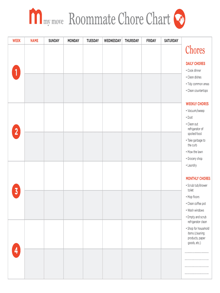 Roommate Chore Chart Generator   Fill Online, Printable, Fillable ...