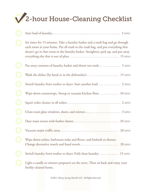 2-hour House-Cleaning Checklist - Money Saving Mom