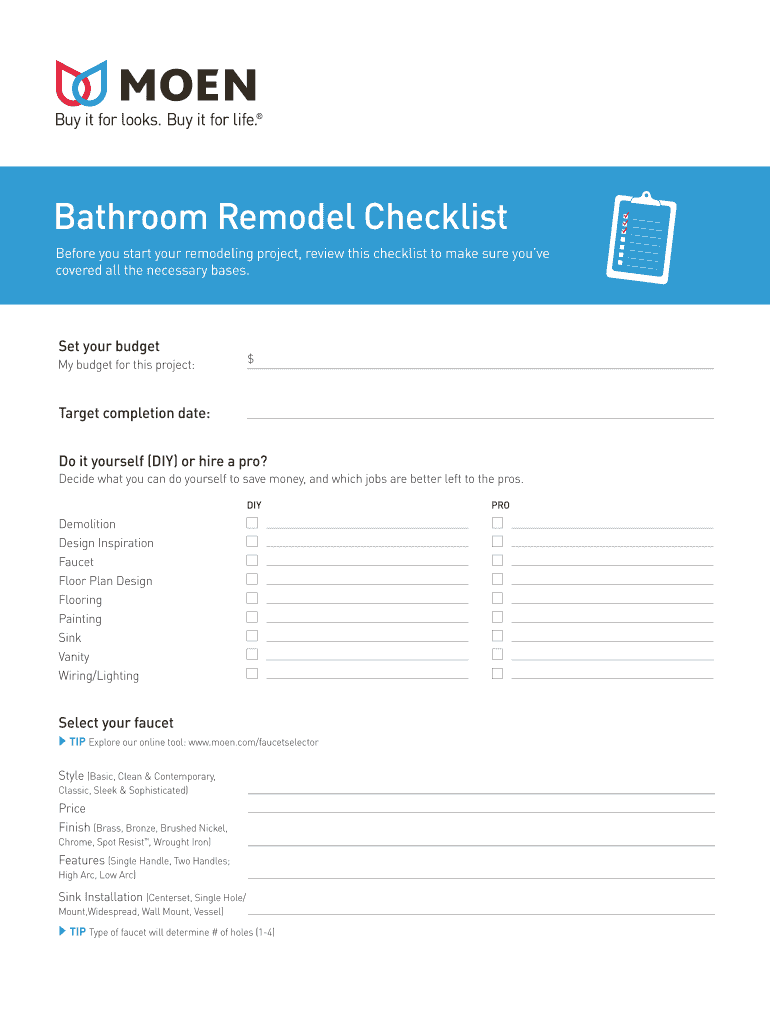 Moen Bathroom Remodel Checklist - Fill and Sign Printable ...