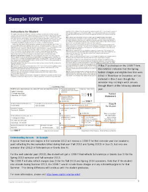 View a sample 1098T Form - Capital University