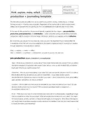Production + journaling template - Writing with Video