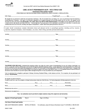 girl scout camp form   fill online printable fillable