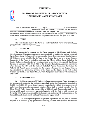 Basketball Team Player Contracts  Blank Contracts