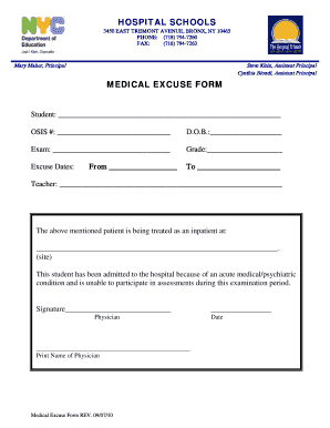 Medical Excuse Form Pictures to pin on Pinterest