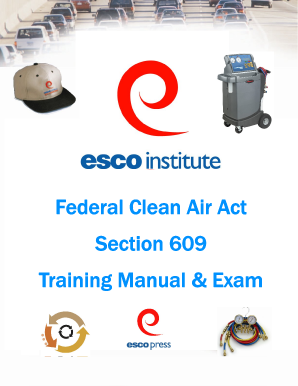 Esco Institute Federal Clean Air Act 609 Training Manual