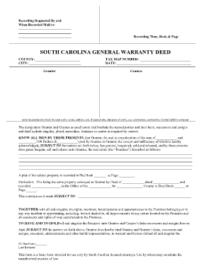 South Carolina General Warranty Deed - Fill Online, Printable ...