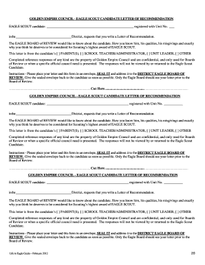 eagle scout certificate template - letter of recommendation for eagle scout award fillable