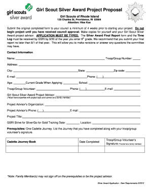Girl Scout Silver Award Project Proposal Form - Fill Online ...