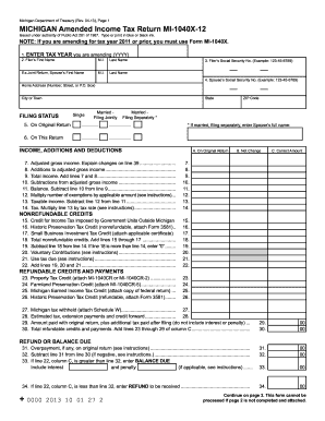 1040x Form 2012 Templates - Fillable & Printable Samples for PDF ...
