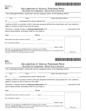 Bill Of Sale Form Oklahoma Vehicle Bill Of Sale Templates ...