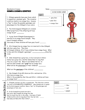 Worksheets Monohybrid Crosses Worksheet Answers oompa loompa genetics form fill online printable fillable blank online
