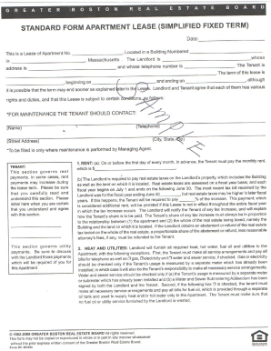 Fillable Online STANDARD FORM APARTMENT LEASE (SIMPLIFIED FIXED ...