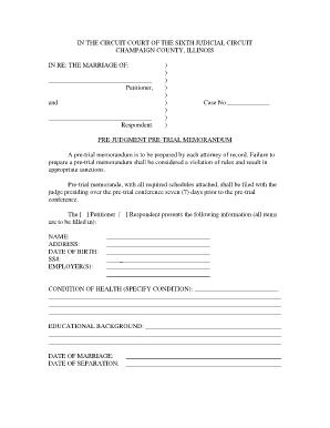 Fillable Online Co Champaign Il Pretrial Memorandum Form