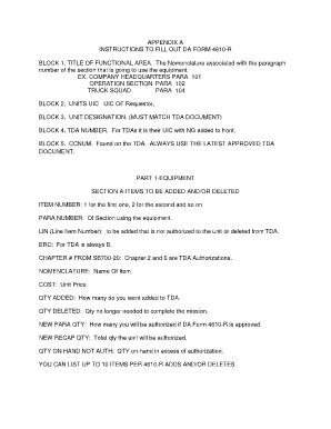 Da 4610 R - Fill Online, Printable, Fillable, Blank | PDFfiller