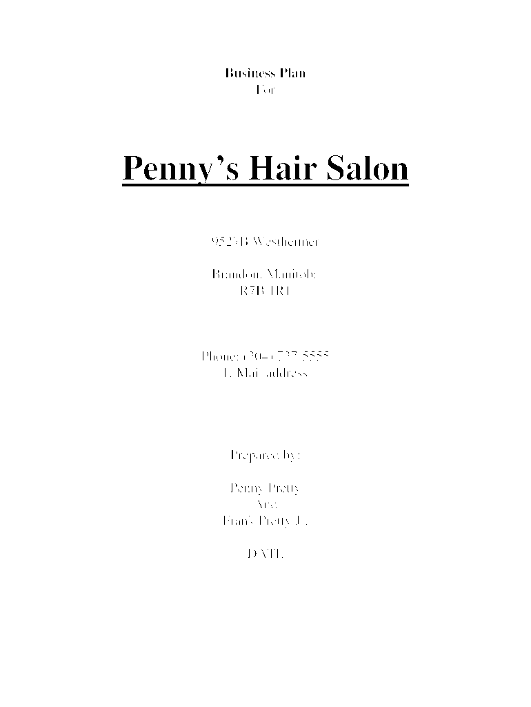 How To Start Up - Hair and Beauty Salon - Sample Business Plan Template