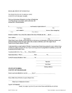 Declaration Of Domicile Miami - Fill Online, Printable, Fillable ...