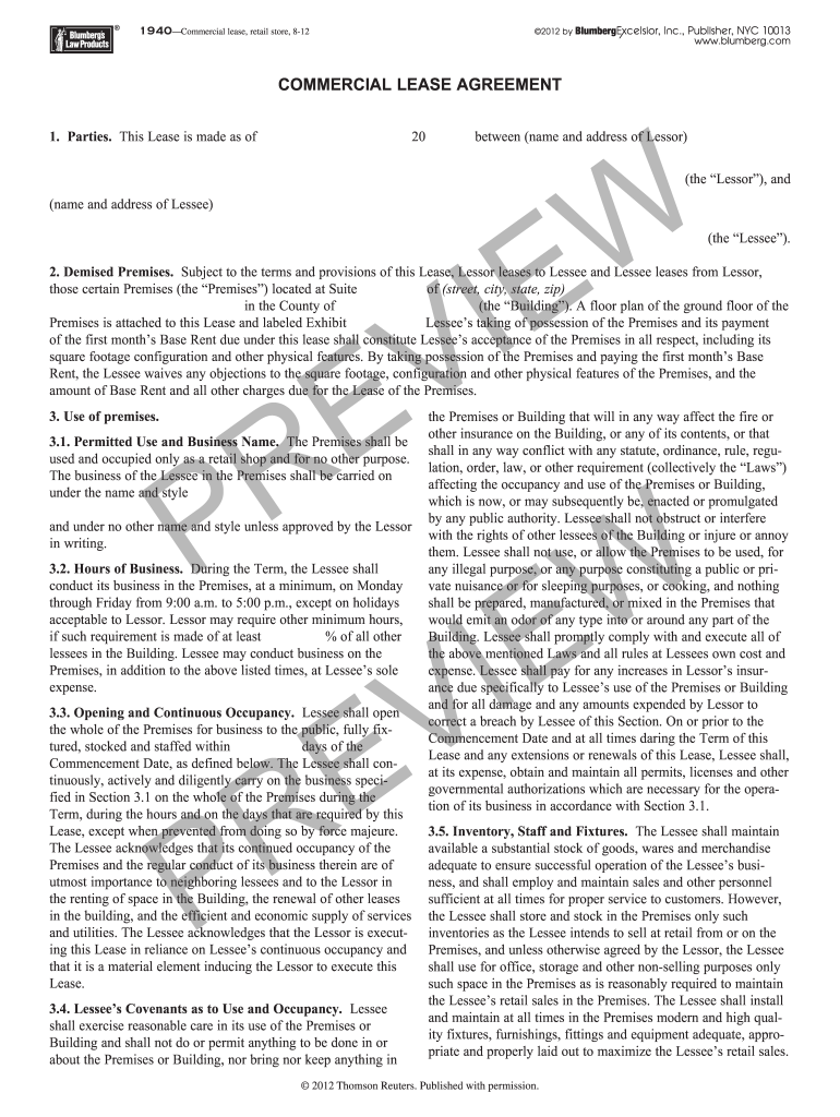 Blumberg Commercial Office Lease Agreement Template Fill