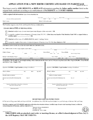 Fillable Online dshs state tx Application for a New Birth ...