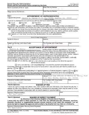 Fillable Online Appointment of Representative-SSA-1696-U4 ...