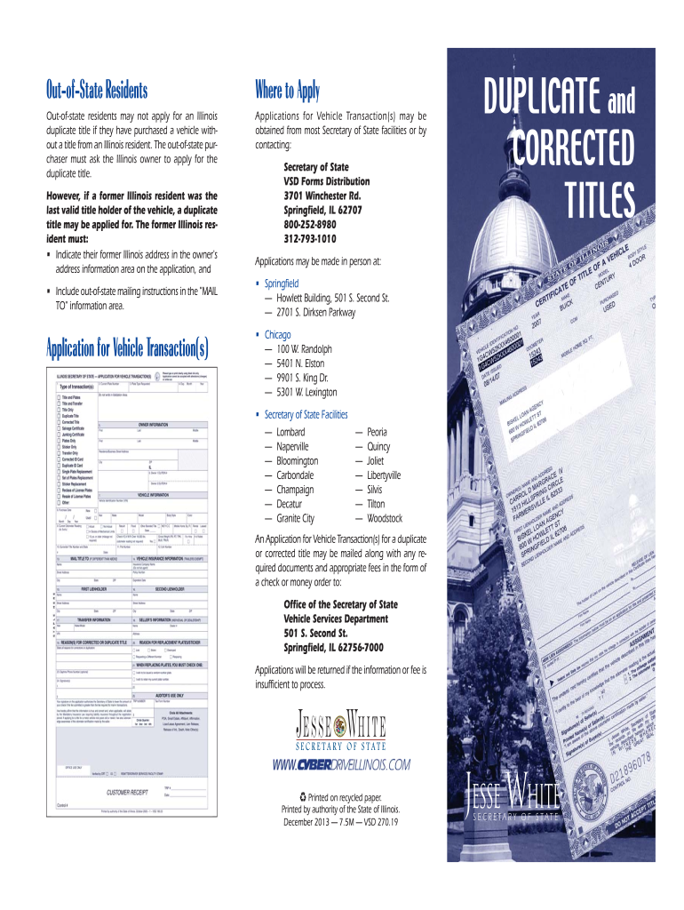 2013-2019 Form IL VSD 270 19 Fill Online, Printable