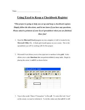 using excel to keep a checkbook register form