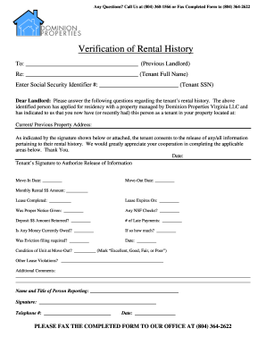 Renter Verification Form Template - Fill Online, Printable ...