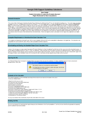 Georgia Child Support Guidelines Calculators User Guide Helpful Information for using the Printable Standard Paper Worksheet for Hand Calculations General Information This version of the Child Support Guidelines Standard Paper Worksheet is