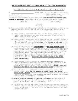 Fillable Hold Harmless Agreement Fill Online Printable