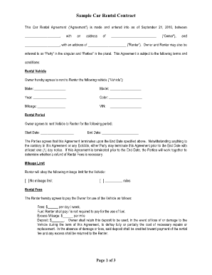 Car Rental Agreement Forms and Templates - Fillable & Printable ...