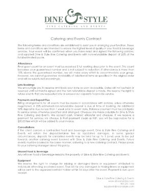banquet hall contract template - sample catering contract template forms fillable