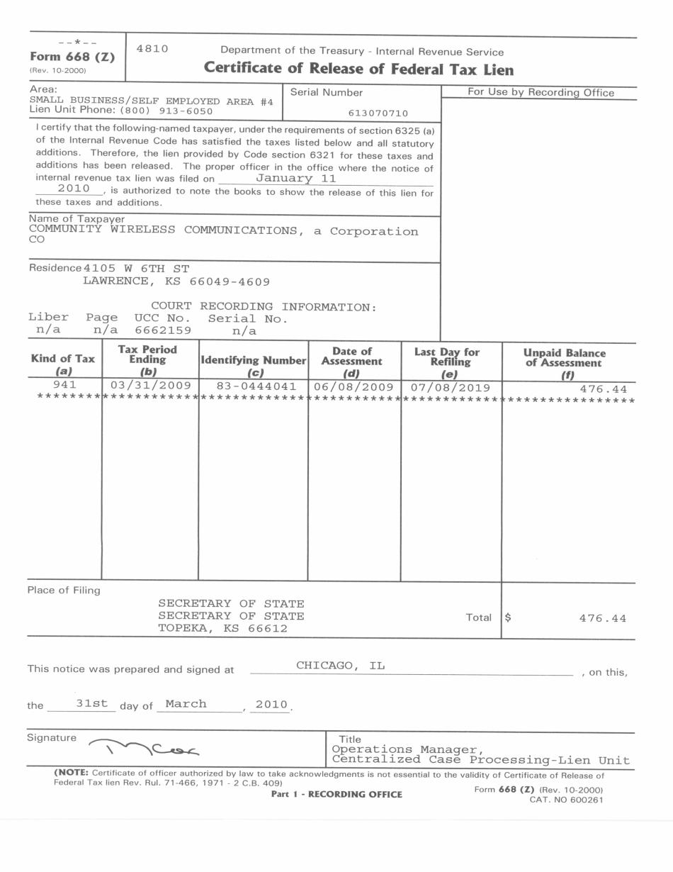 Form 668(Z)