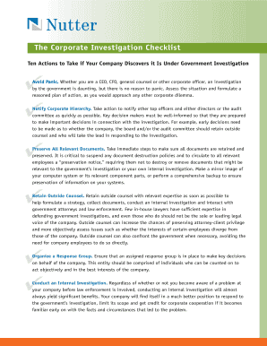 Fillable online the corporate investigation checklist for Nutter mcclennen fish llp