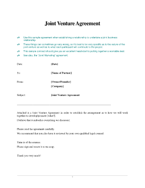 Use this sample agreement when establishing a relationship to undertake a joint business
