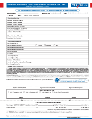 New Fillable Rtgs Form For Yes Bank - Fill Online, Printable ... on teacher application form, bank information form, bank employment application form, chase bank application form, bank loan application form, sample bank statement form, business application form, bank check register form,