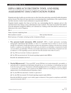 Fillable Online Hipaa Breach Decision Tool And Risk Assessment - Hipaa risk assessment template
