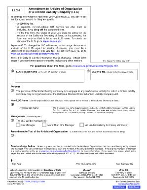 Fillable Online sos ca Certificate of Amendment (Form LLC-2 ...