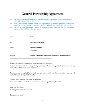Elegant Printable Notarized Business Agreement Template Form. General Partnership  ...