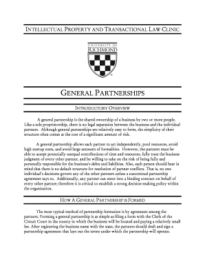 U. This is a sample business contract for establishing the terms of general partnership relationship and business structure formation - law richmond
