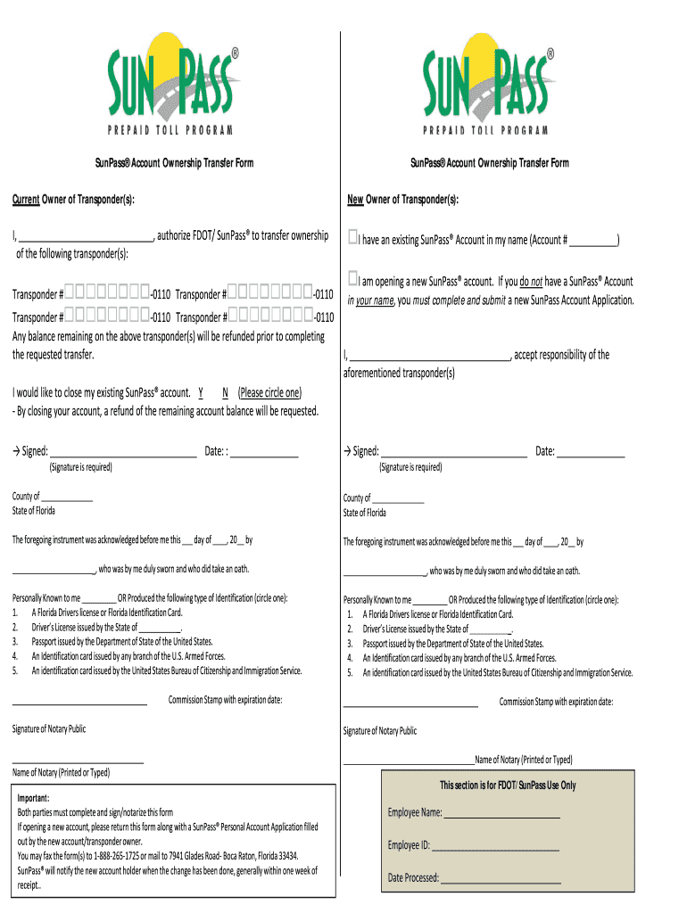 Sunpass Account - Fill Online, Printable, Fillable, Blank | PDFfiller