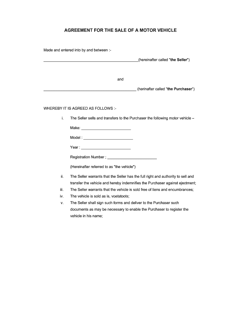 private car sale agreement voetstoots template