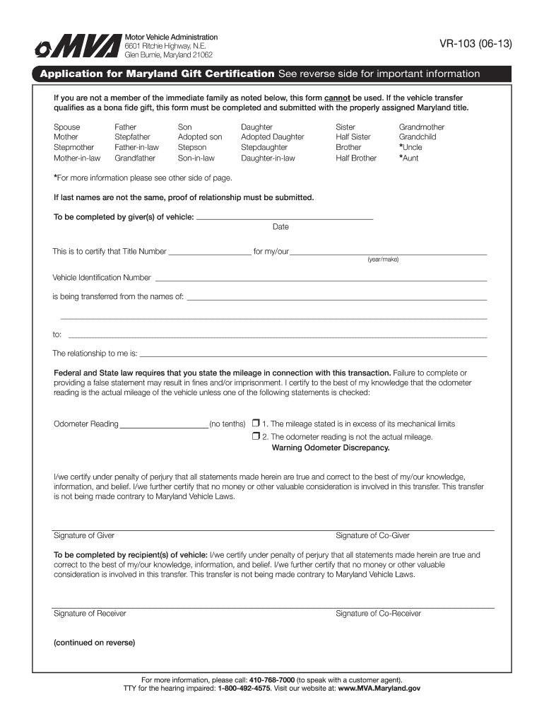 2013 2019 Form Md Vr 103 Fill Online Printable Fillable