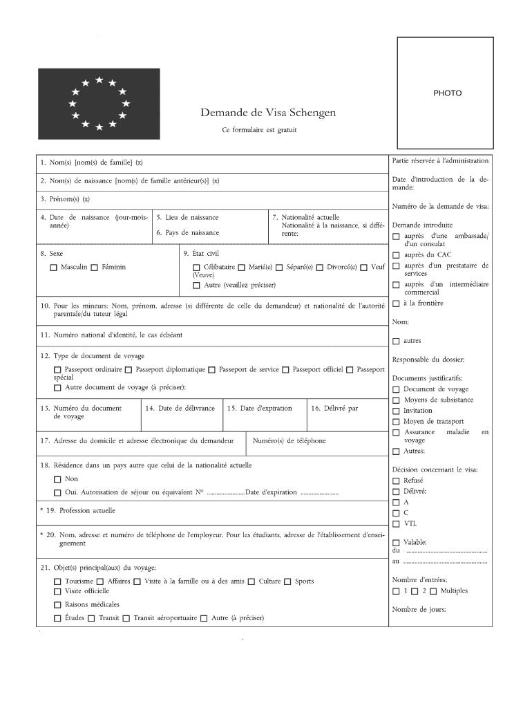 Formulaire Visa Schengen France Format Word Fill Online
