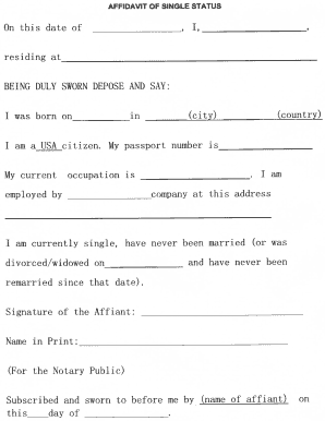 single status affidavit fill online printable fillable blank