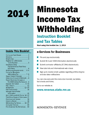 Fillable Online Revenue State Mn 2014 Minnesota Income Tax