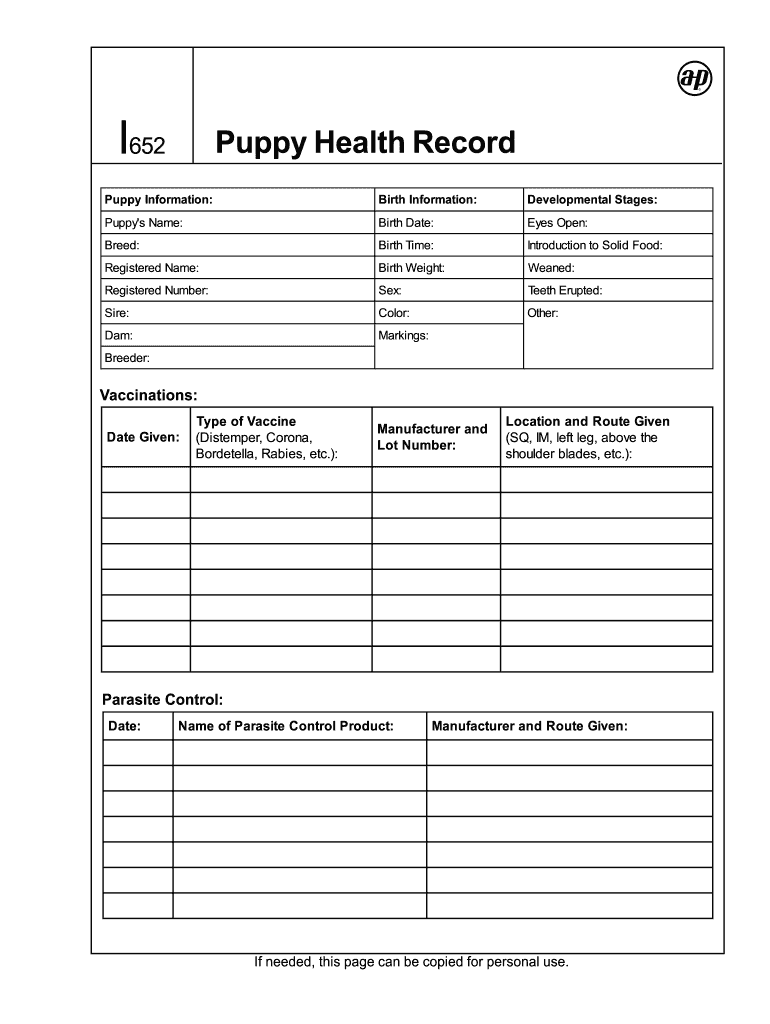 picture relating to Puppy Vaccination Chart Printable named Pet Conditioning Historical past - Fill On the web, Printable, Fillable